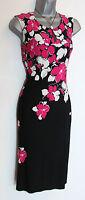 PRECIS Petite Black/Pink/White Floral Print Jersey Shift Dress sz-10-16 rrp:£99
