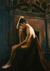 Dream-art Oil painting male portraits naked strong young man seated in landscape