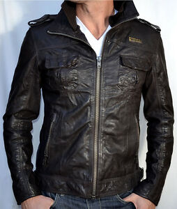 Superdry Mens Ryan Leather Jacket Mens Coats Mens Coats COLOUR-black