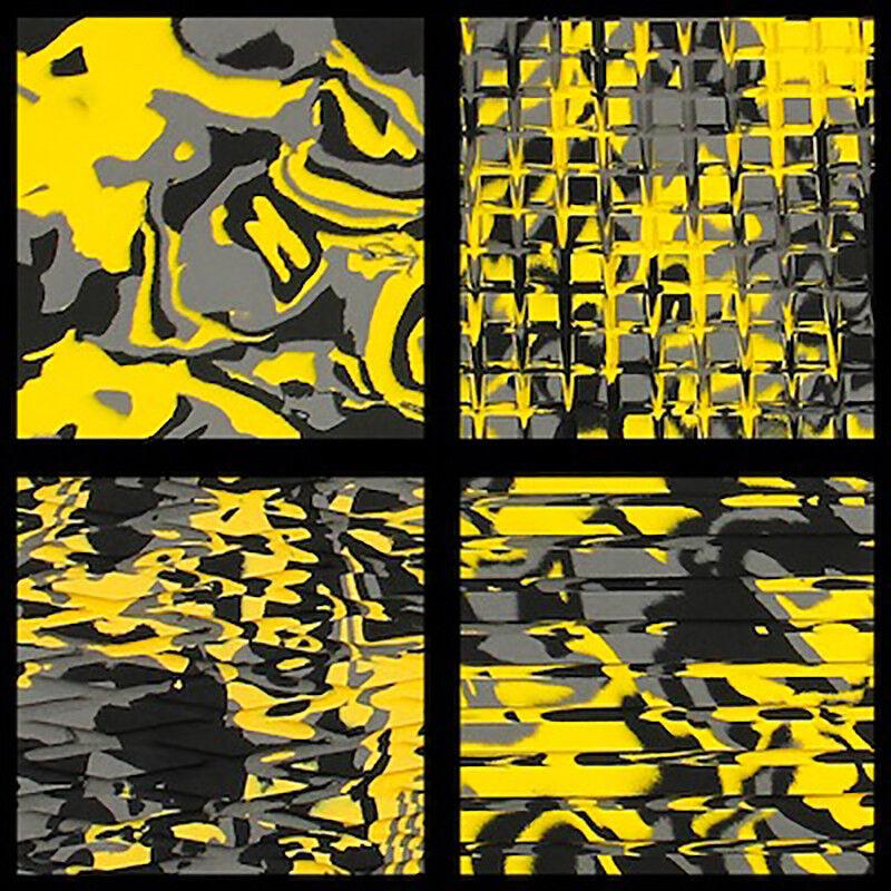 Hydro-Turf auf Lager - Blatt Material - Gelb Tarnung Schnitt Diamant 3m -