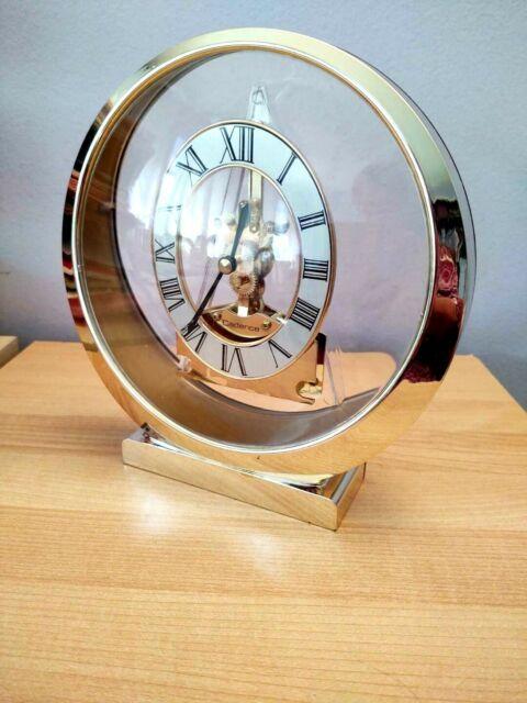 Cadence Quartz Gold Tone Skeleton Shelf Table Mantel Clock