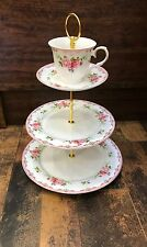 3Tier Flower Design Pink Cake Stand Cupcake and Dessert Centerpiece 13 Inch High