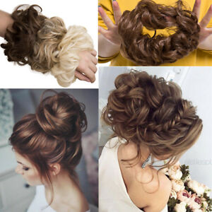 Details About High Quality Curly Messy Bun Hair Piece Scrunchie Updo Cover Real As Human Brown