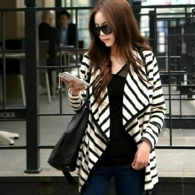 Trendy Spring Women Long Sleeve Striped Casual Cape Tops Cardigan Blouse Jacket