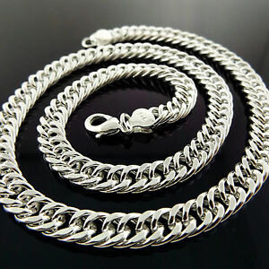 Mens-925-Sterling-Silver-Necklace-Chain-S-F-Solid-Heavy-Curb-Bling-Link-Design