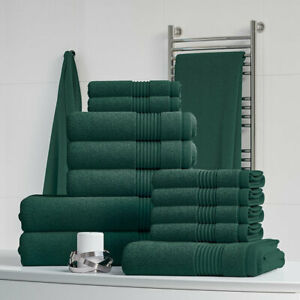 Towels-Set-100-Cotton-Forest-Green-Hand-Large-Bale-500-GSM-Bathroom-6-Piece-Set