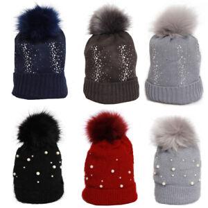 5364c1cae3f64 Sparkly Diamante Pearl FAUX Fox Fur Pom Pom Knit Beanie Hat Bobble ...