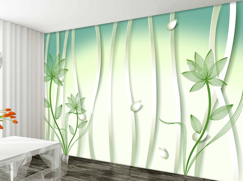 Papel Pintado Mural De Vellón Patrón Patrón Patrón De Loto Verde 2 Paisaje Fondo De Pantalla 361701