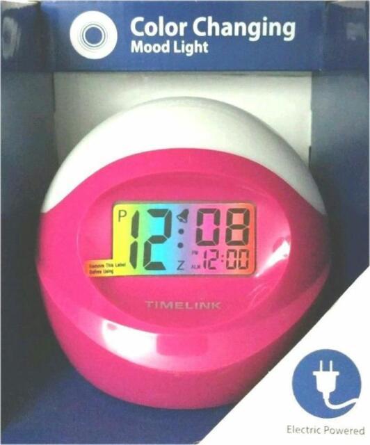 Timelink Color Changing Ac Alarm Clock, Timelink Led Alarm Clock With Multi Color Display