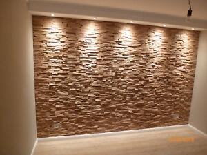Wandverkleidung 3d eiche spaltholz verblender dekorplatte - Holzriemchen wand ...