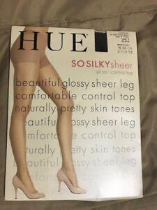 64718b545 HUE SO SILKY sheer - sz 1 - Black - control top - pantyhose - gloss ...