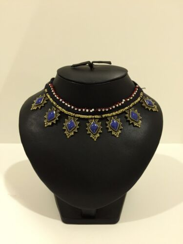 Afghan Vintage Necklace Black String Statement Traditional Ethnic Authentic
