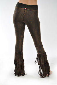 edb4542cfe3e5 NWT T-Party Flare Yoga Pants DOUBLE FRINGE Brown Mineral Wash Fold ...