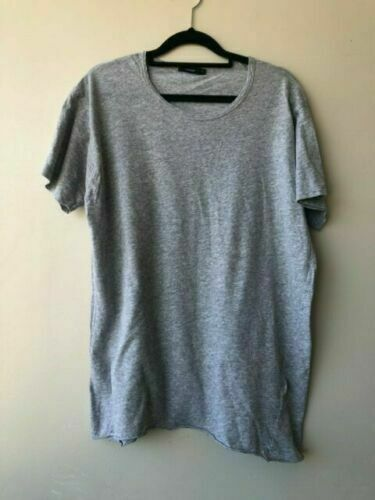 BASSIKE Grey Organic Cotton Tee Top T-Shirt Sz L