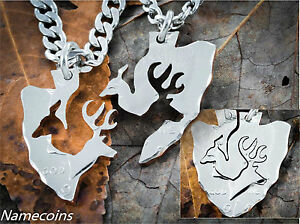 Couples-Arrowhead-Necklaces-Buck-and-Doe-interlocking-deer-cut-from-coin