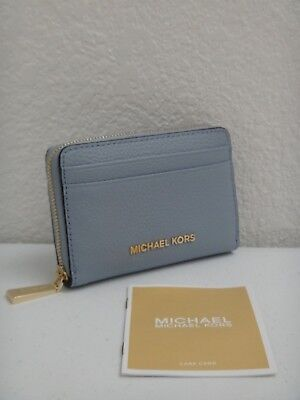 4871d7a992a1 MICHAEL KORS Women Jet Set MK Wallet Coin Card Case 38S9CTTZ1L Pale Blue  Leather