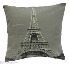 """EIFFEL TOWER PARIS FRANCE SILVER BLACK TAPESTRY COTTON THICK 18"""" CUSHION COVER"""
