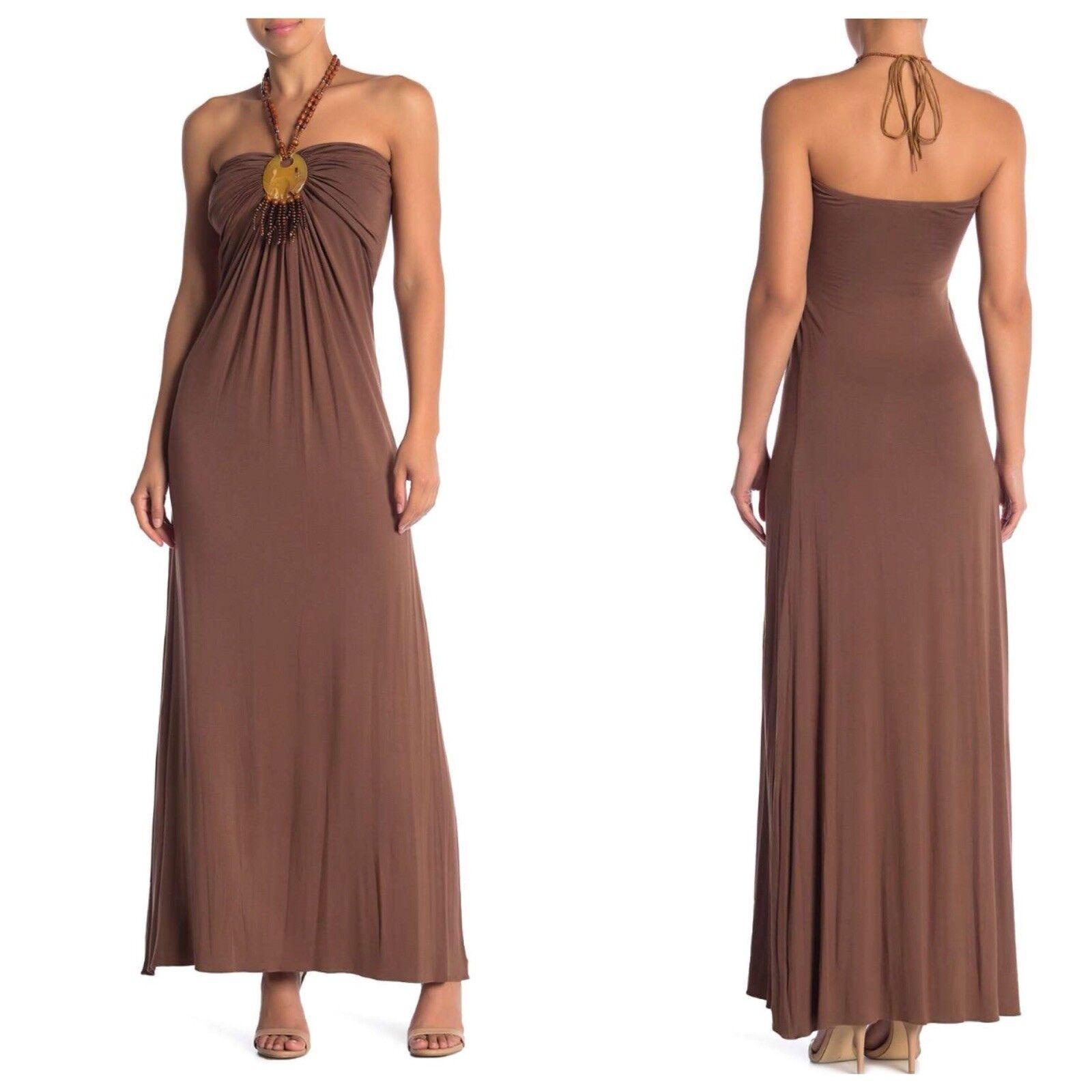 Sky Brand M Mocha Beaded Halter Maxi Dress-Medium