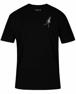 Hurley-Mens-T-Shirts-Black-Size-2XL-Logo-High-Tides-Print-Graphic-Tee-30-275