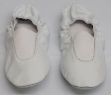 Leos Dancewear White Canvas Leather Dance Ballet Slippers Womens Size 10M