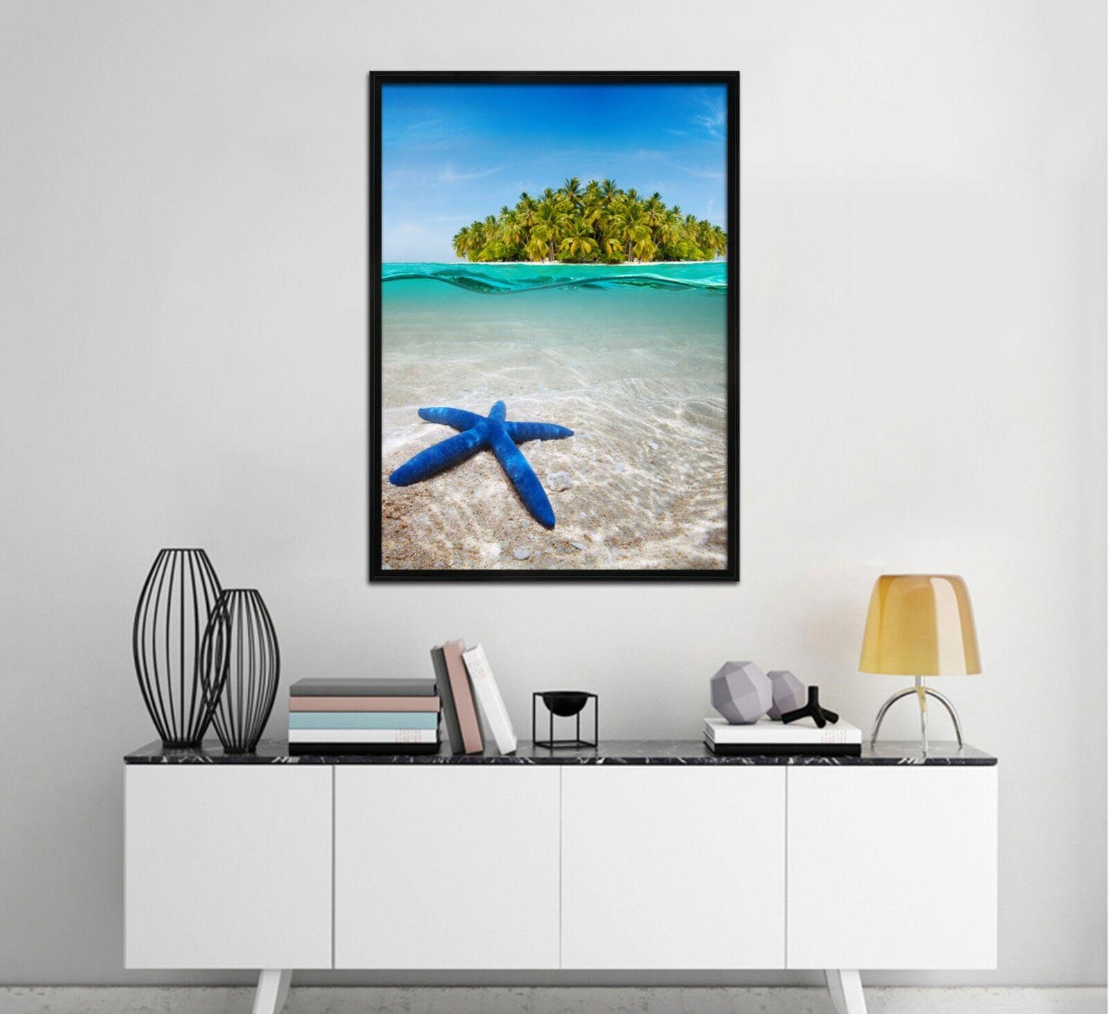 3D bluee Starfish 51 Framed Poster Home Decor Print Painting Art AJ UK