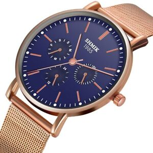 Luxus-Frauen-Trendy-duenne-minimalistische-Uhr-Schlank-Netz-Edelstahl-Armband-Quarz