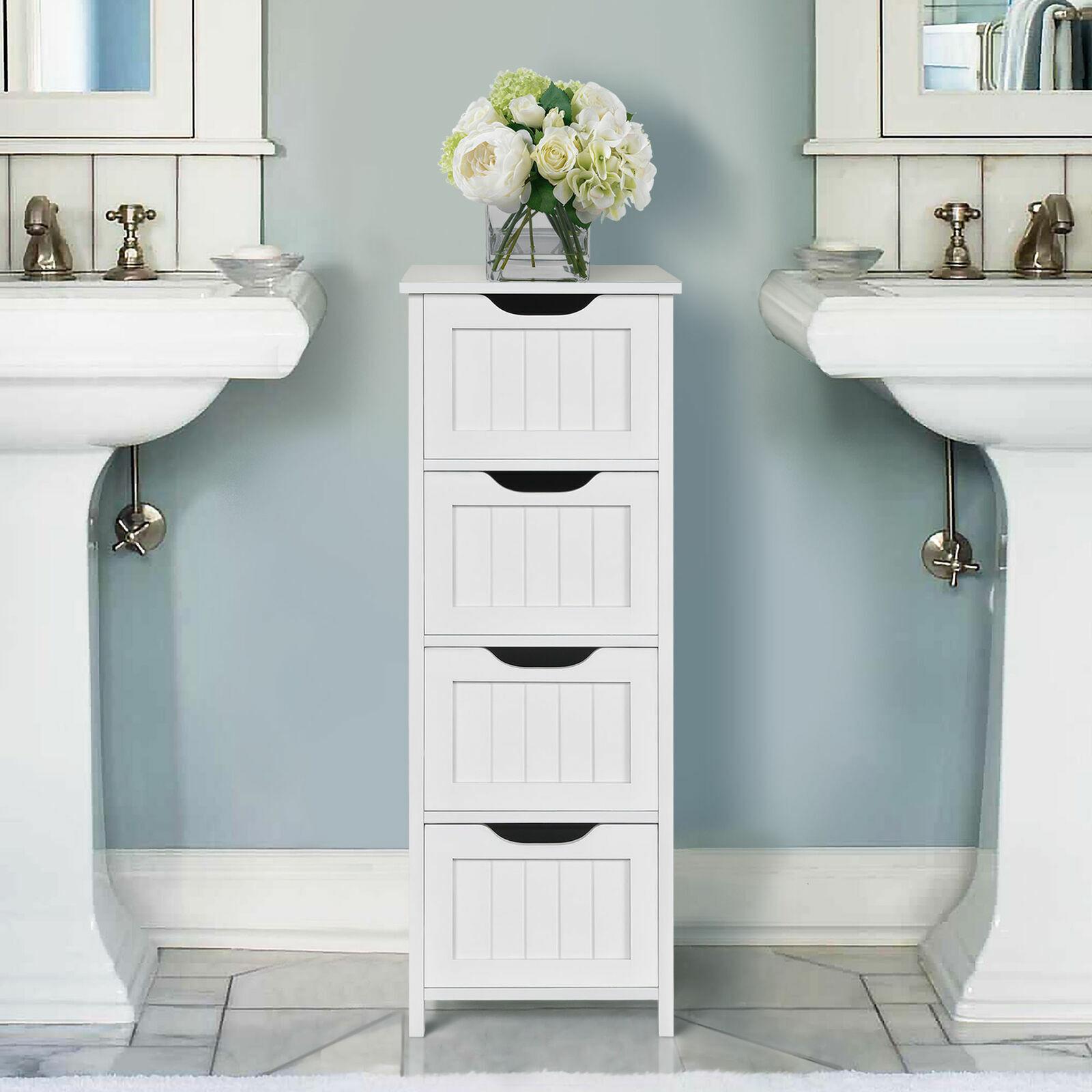 Homfa Bathroom Floor Cabinet 4 Drawer Wooden Standing Storage Side Organizer For Sale Online Ebay