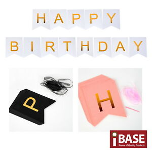 Details about HAPPY BIRTHDAY Banner Party Bunting Decoration Garland Gold  Metallic Letter
