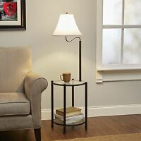 Glass End Table Built In Floor Lamp 3 Way Combo Round Top Living Room Furniture