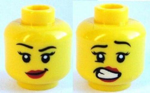 LEGO Minifig Head Female Red Lips Lopsided Smile // Scared w// Teeth Pattern