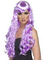 Desire Wig Lilac Long Curly Fringe Wig Katy Wig - Ladies Fancy Dress