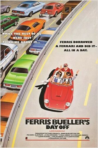 classic movie poster FERRIS BUELLER/'S DAY OFF cars freeway 80/'s FAVE 24X36