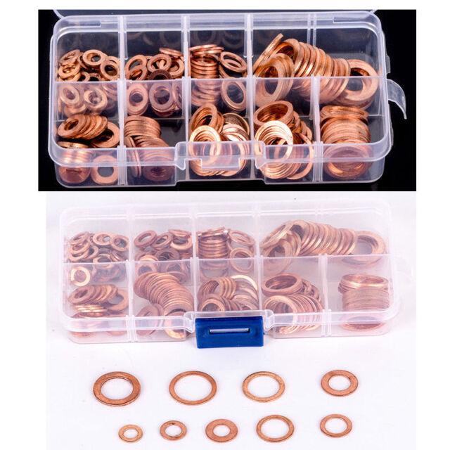 200pcs Assorted Crush Copper Washer Gasket Set Flat Ring Seal Kit w/ Box 9 Sizes