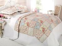 Floral Vintage Patchwork Quilted Bedspread Throw + 2 Pillow Shams In 2 Sizes