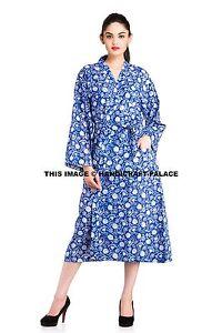 Women-039-s-Indigo-Floral-Block-Printed-Kimono-Indian-Sleepwear-Robes-Nightgown-Gown