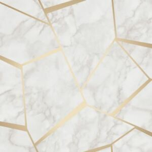 Fractal Metallic Geometric Marble Gold Wallpaper FD42265 New Fine Decor