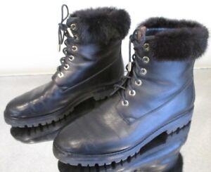 f262fe2af5a2d AQUAZZURA  Heilbrunner  Black Leather Lace Up Combat Boots w  Mink ...