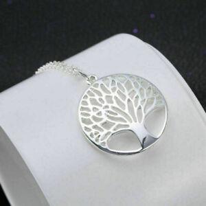 Halskette-Frauen-Baum-Silber-Blaetter-Hohl-Kettemit-Anhaenger-Geschenk-Neu-Sa-F1V3