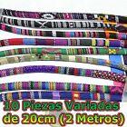 2 Metros/10 Piezas Cinta de Tela Etnica 6mm A Elegir Para Pulsera Cloth Bracelet