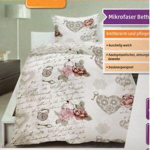 Microfaser Bettwäsche Bettgarnitur Retro Look 135x200 cm mit Reißverschluss