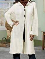 Women's Winter Fall Spring washable Ivory Long Sweater Coat jacket plus XL 1X 2X
