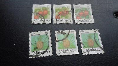 Malaysia, Stamps, Briefmarken, 1986, Nanas, 3x 343, 3x 344, Gestempelt