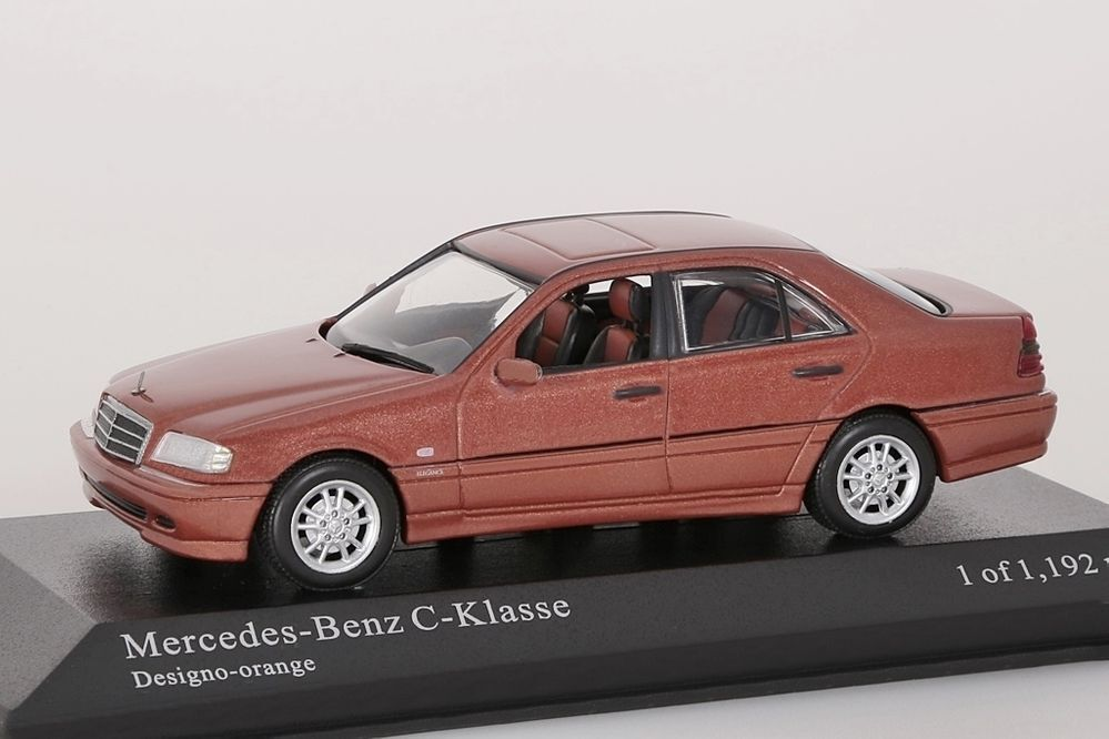Mercededs-Benz C-Classe 1997 Orange Metallic Minichamps 1 43 Nouveau Neuf dans sa boîte