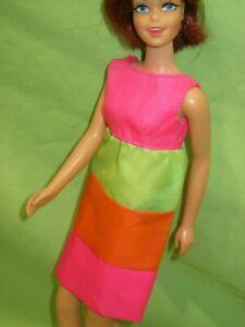 VINTAGE-Barbie-1967-Mod-Francie-CASEY-GOES-CASUAL-Sears-3304-Colorblock-DRESS