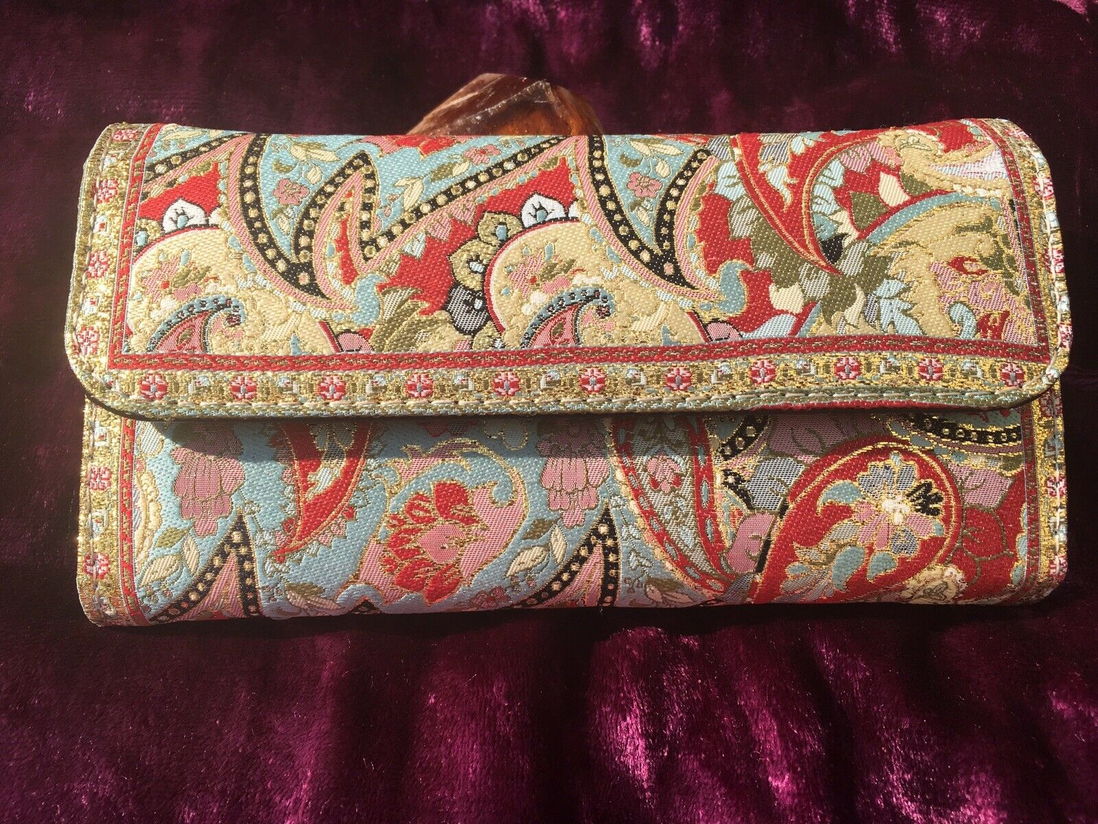 Paisley Gold Embroidered Large Purse, Clutch, Wallet, Ethnic, Boho, Ladies Gift