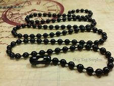 Mens Military Necklace BLACK Stainless Steel 4.8 MM Ball Bead Chain 27 inches