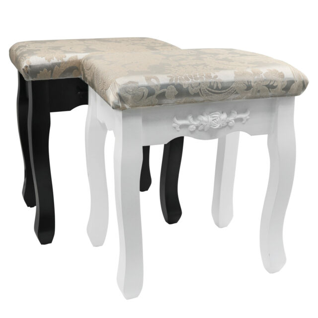 Retro Vanity Stool Makeup Dressing Bench Pad Cushioned Seat Chair Black or  White