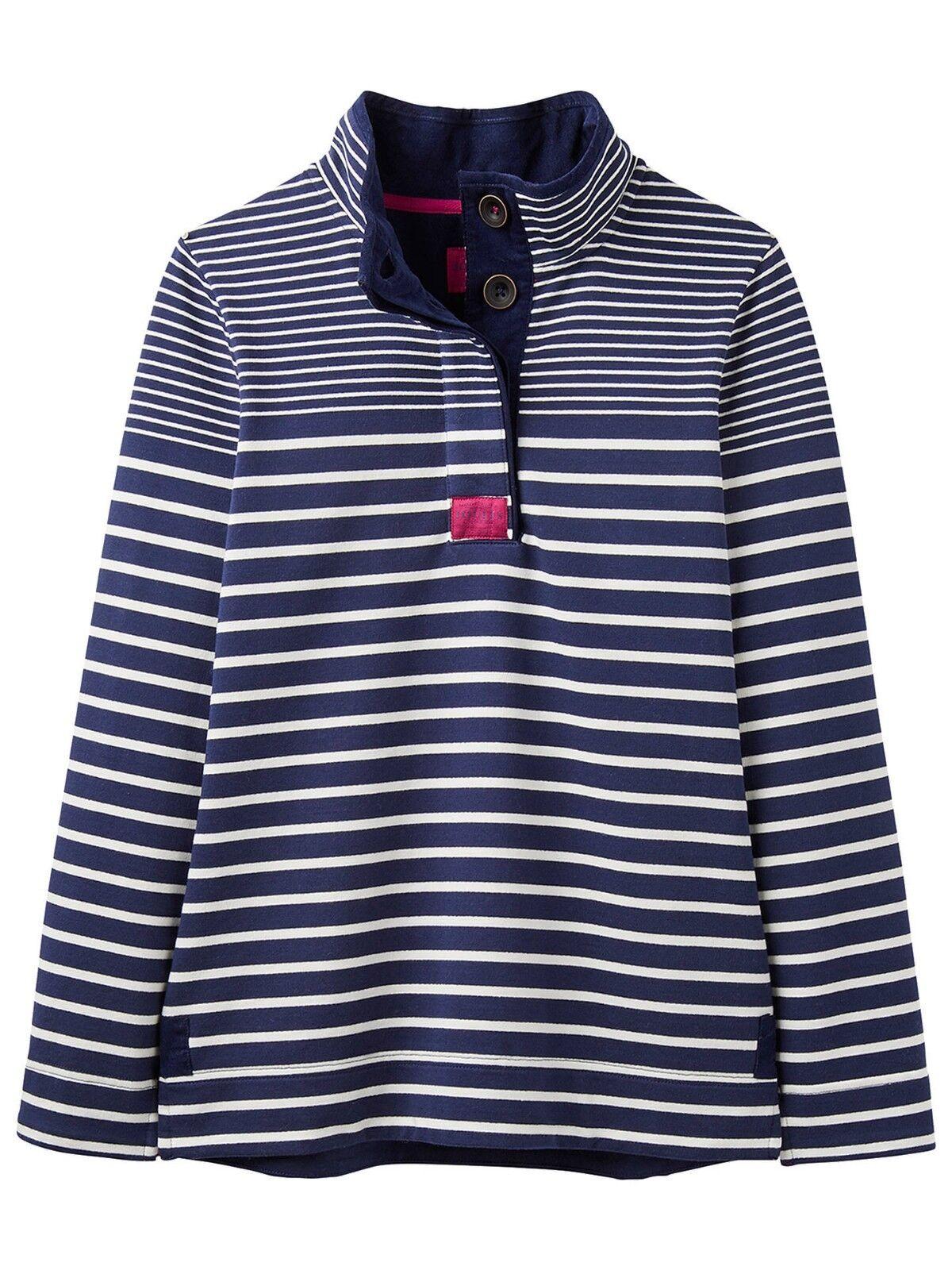 Joules Saunton Funnel Neck Sweatshirt - Navy & Weiß Stripe - Various Größes
