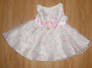 6117cb892 Youngland Baby Infant Girls White Chiffon Pink Embroidered Flowers ...