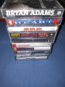 Lot Of 10 Vintage Rock N Roll Audio Cassette Tapes, Bon Jovi, Tom Petty And More